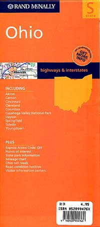 Ohio Road and Tourist Map, America.