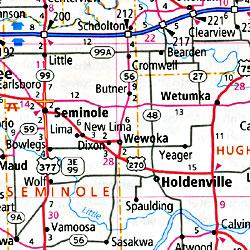 Oklahoma Road and Tourist Map, America.