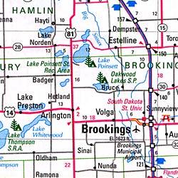 South Dakota and North Dakota, Road Map, America.