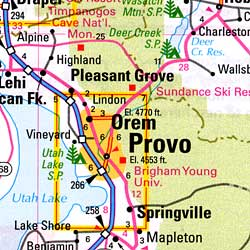 Utah Road and Tourist Map, America.