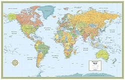 World M Series Political WALL Map.