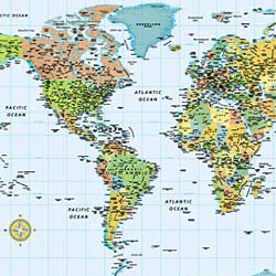 """World M Series """"Illustrated"""" Political WALL Map."""