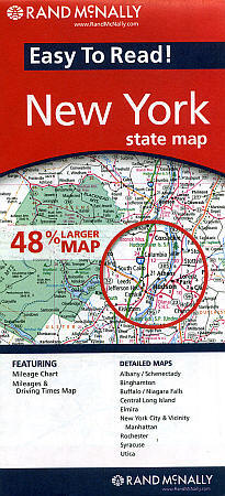 """New York State """"Easy to Read"""" Road and Tourist Map, America."""