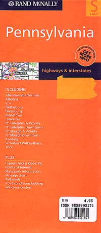 Pennsylvania Road and Tourist Map, America.