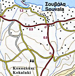 Egina Island Road and Physical Tourist Map, Greece.