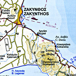 Ionian Islands Road and Tourist Map, Greece.