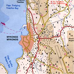 Mykonos Island, Road and Physical Tourist Map, Greece.