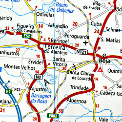 Spain and Portugal, Road and Physical Tourist Road Map.