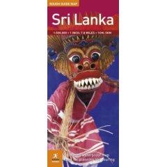 Sri Lanka, Road and Tourist Map.