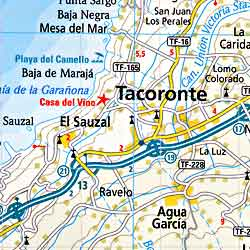 Tenerife Island, Road and Physical Tourist Road Map.