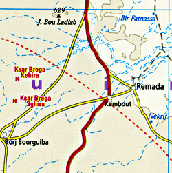 Tunisia Road and Physical Tourist Map.