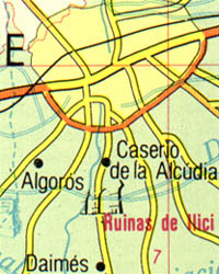 Costa Blanca, Road and Shaded Relief Tourist Map, Spain.