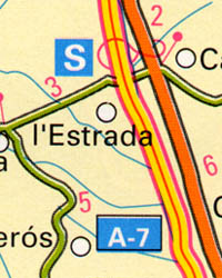 Girona Province, Road and Tourist Road Map, Spain.