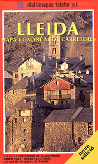 Lleida Province, Road and Tourist Road Map, Spain.