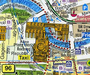 BERLIN Panoramic and Street Plan, Germany.