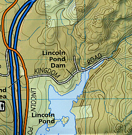 Adirondack Park (Lake Placid and High Peaks Section), Road and Recreation Map, New York, America.