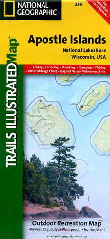 Apostle Islands, Road and Recreation Map, Wisconsin, America.