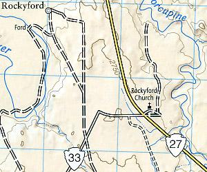 Badlands National Park, Road and Recreation Map, South Dakota, America.