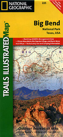 Big Bend National Park, Road and Recreation Topographic Map, Texas, America.