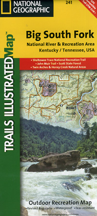 Big South Fork National River and Recreation Area, Road and Recreation Map, Tennessee, America.
