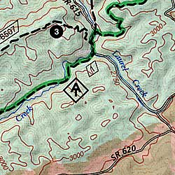 Blacksburg and New River Valley, Road and Recreation Map, Virginia, America.