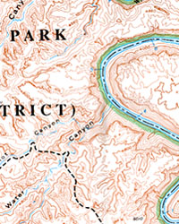 Canyonlands National Park, Maze District, Road and Topographic Map, Utah, America.