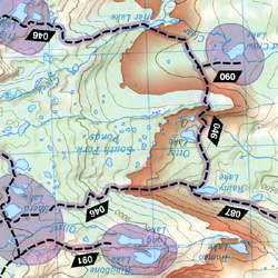 Cloud Peak Wilderness, Road and Recreation Map, Wyoming, America.