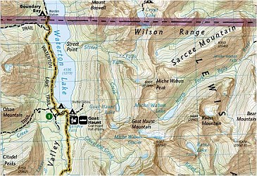 """Glacier and Waterton Lakes National Park """"Bundle"""", Road and Recreation Map, Montana, America."""