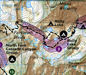 Grand Teton National Park, Road and Recreation Map, Wyoming, America.