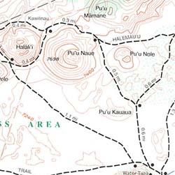 Haleakalaa National Park, Road and Recreation Map, Maui, Hawaii, America.