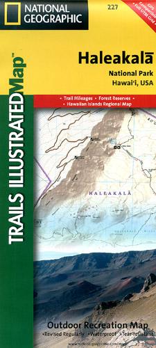 Haleakala National Park, Road and Topographic Recreation Map, Maui, Hawaii State, America.