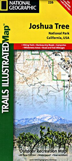 Joshua Tree National Park, Road and Recreation Map, California, America.