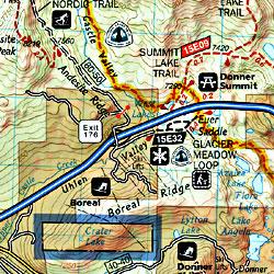 Lake Tahoe Basin, Road and Recreation Map, California and Nevada, America.
