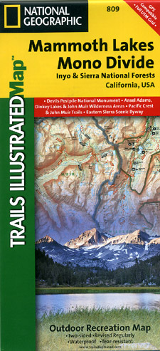 Mammoth Lakes and Mono Divide National Park, Road and Recreation Map, California, America.