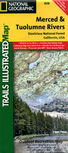 Merced and Tuolumne Rivers National Park, Road and Recreation Map, California, America.