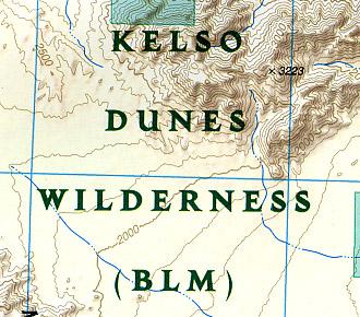 Mojave National Preserve, Road and Recreation Map, California, America.
