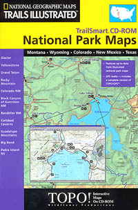 MT to TX, 11 National Park, Road and Recreation Topographic Map with CD-ROM, Texas, America.