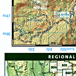 Sequoia and Kings Canyon National Park, Road and Recreation Map, California, America.