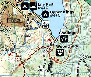 Shaver Lake, Road and Recreation Map, California, America.