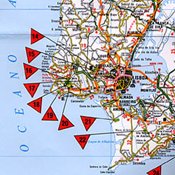 Portugal: Golfing in Portugal, Road and Tourist Map.