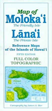 Molokai and Lanai Road and Reference Map, Hawaii, America.