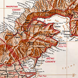 American Samoa and Western Samoa, Road and Reference Map.