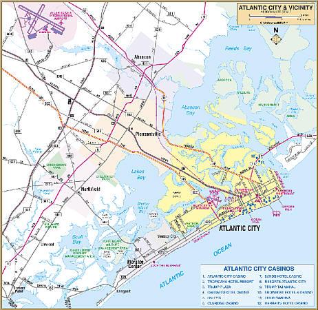 Atlantic City WALL Map, New Jersey, America.
