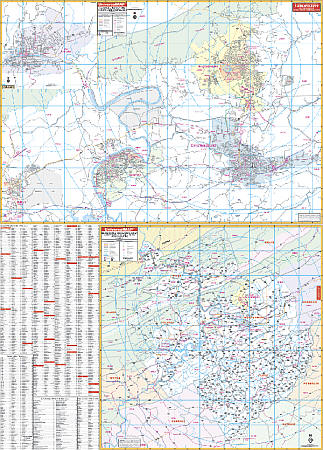 Blacksburg, Christiansburg and Pulaski WALL Map, Virginia, America.