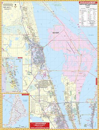 Brevard County North WALL Map, Florida, America.