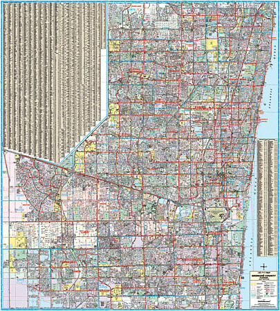 Broward and Ft Lauderdale County WALL Map, Florida, America.