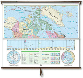 """Canada and World Essential Combo """"Classroom"""" WALL Map On Roller with Backboard."""
