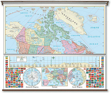"""Canada and World Primary Combo """"Classroom"""" WALL Map On Roller with Backboard."""