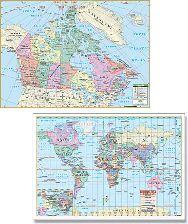 Canada and World Rolled Combo WALL Map.
