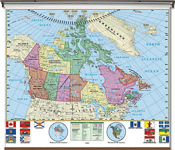 """Canada Essential """"Classroom"""" WALL Map On Roller with Backboard."""